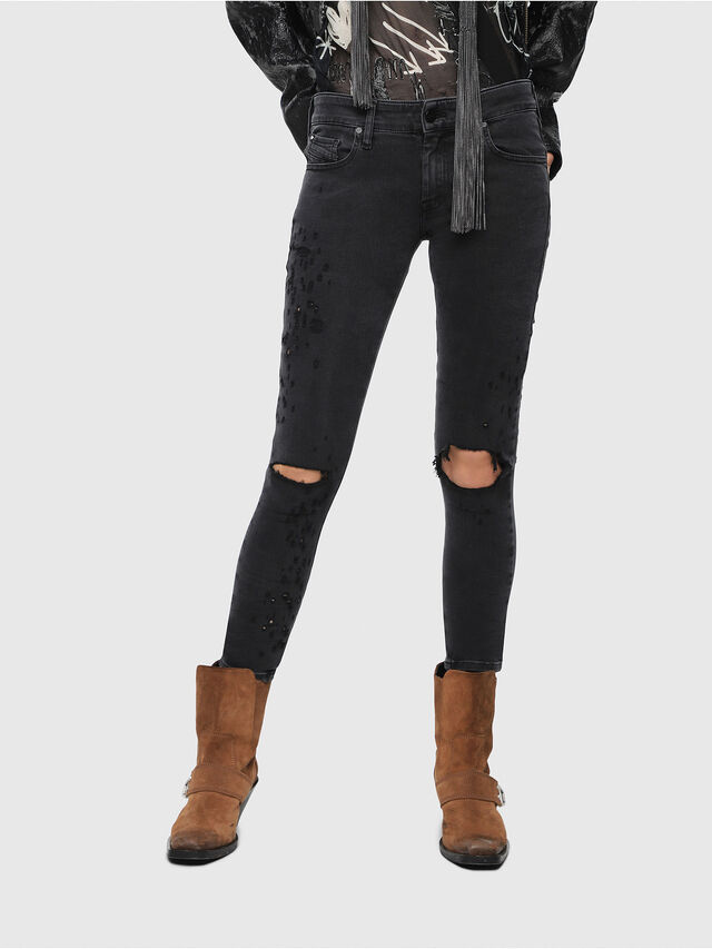 Diesel - Slandy Low 085AW, Black/Dark grey - Jeans - Image 1