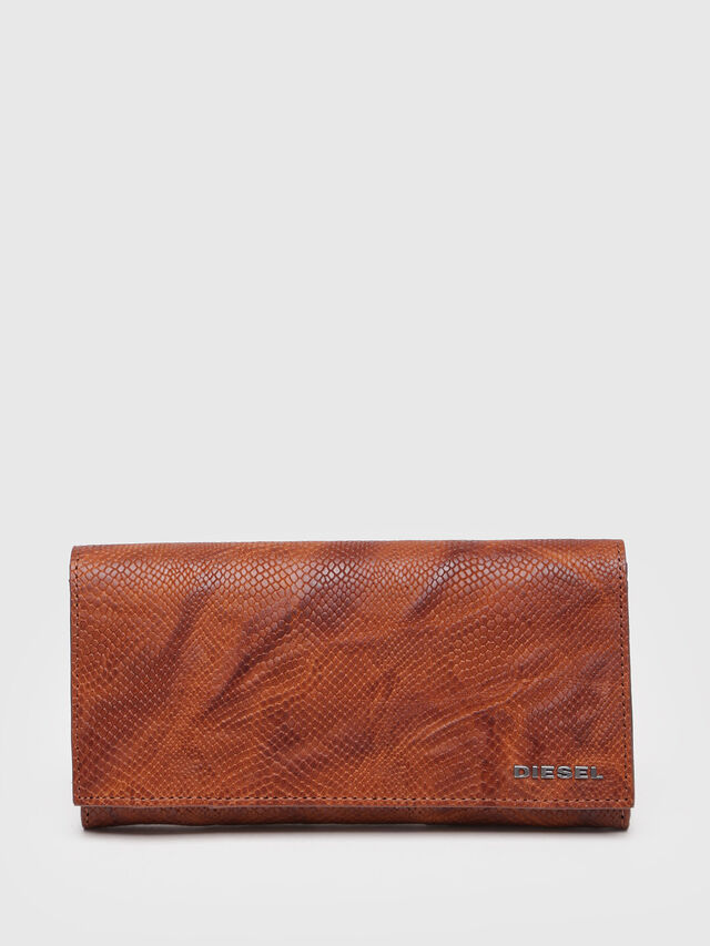 Diesel - 24 A DAY, Brown Leather - Continental Wallets - Image 1