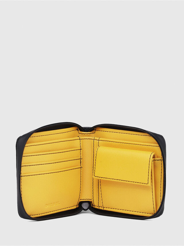 Diesel - ZIPPY HIRESH S, Black/Yellow - Zip-Round Wallets - Image 3