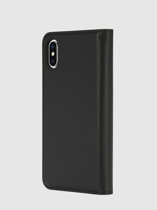 Diesel - SLIM LEATHER FOLIO IPHONE X, Black - Flip covers - Image 3