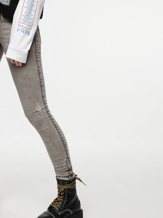 Diesel - Skinzee Low Zip 084UP, Light Grey - Jeans - Image 4