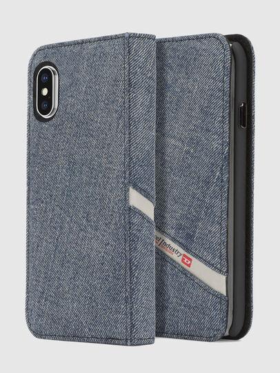 Diesel - DENIM IPHONE X FOLIO, Blue Jeans - Flip covers - Image 1