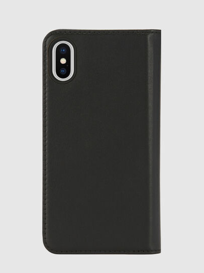 Diesel - SLIM LEATHER FOLIO IPHONE X, Black - Flip covers - Image 2