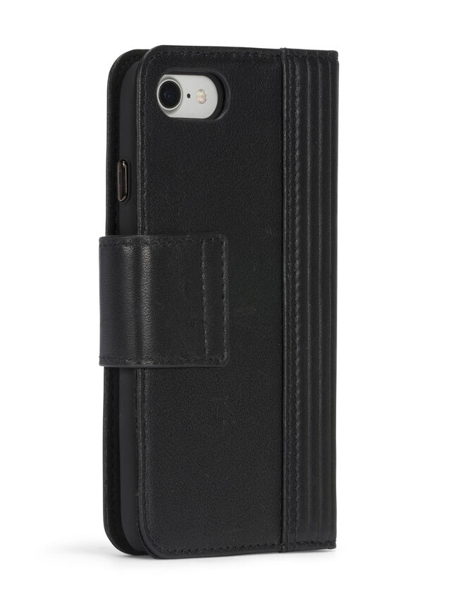 Diesel - BLACK LINED LEATHER IPHONE 8 PLUS/7 PLUS FOLIO, Black - Flip covers - Image 7