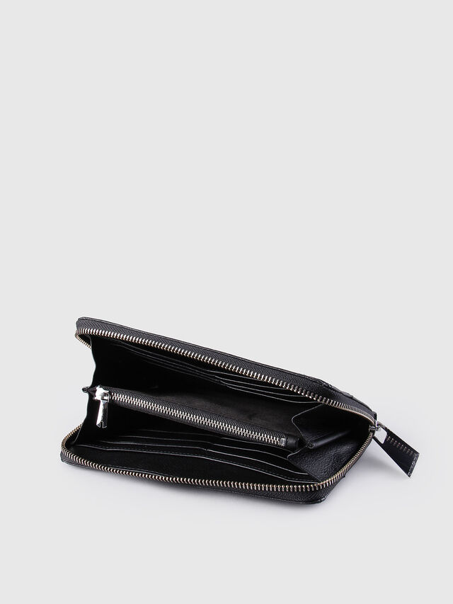 Diesel - GRANATO, Black Leather - Zip-Round Wallets - Image 4