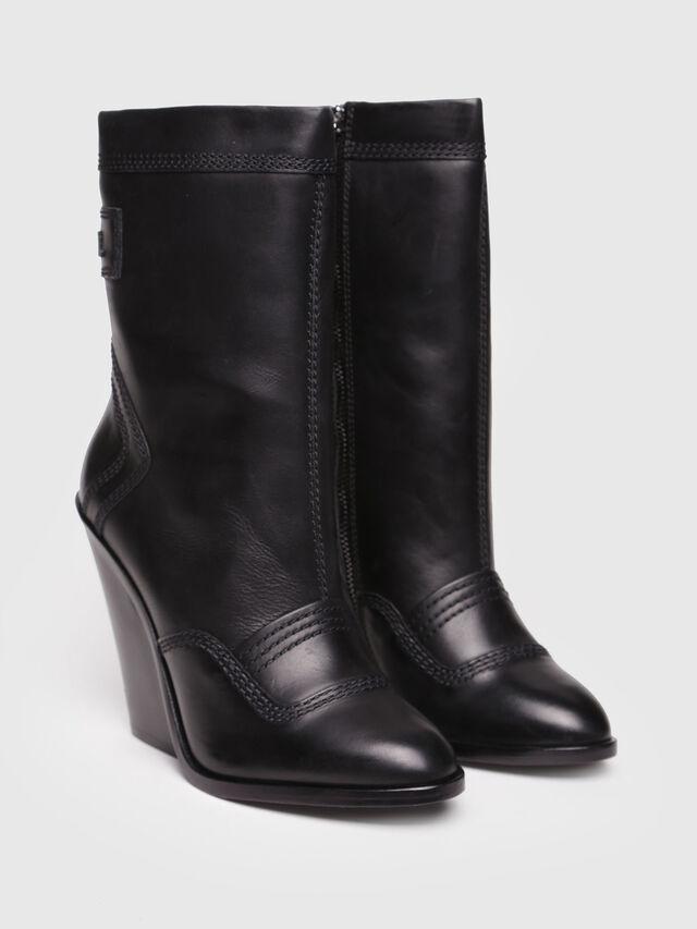 Diesel - D-FLAMINGO B, Black Leather - Ankle Boots - Image 2
