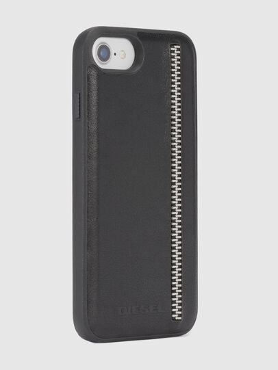 Diesel - ZIP BLACK LEATHER IPHONE 8 PLUS/7 PLUS/6s PLUS/6 PLUS CASE, Black - Cases - Image 5