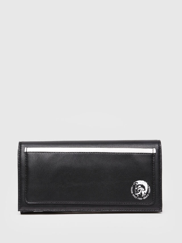 Diesel - 24 A DAY, Black Leather - Continental Wallets - Image 1