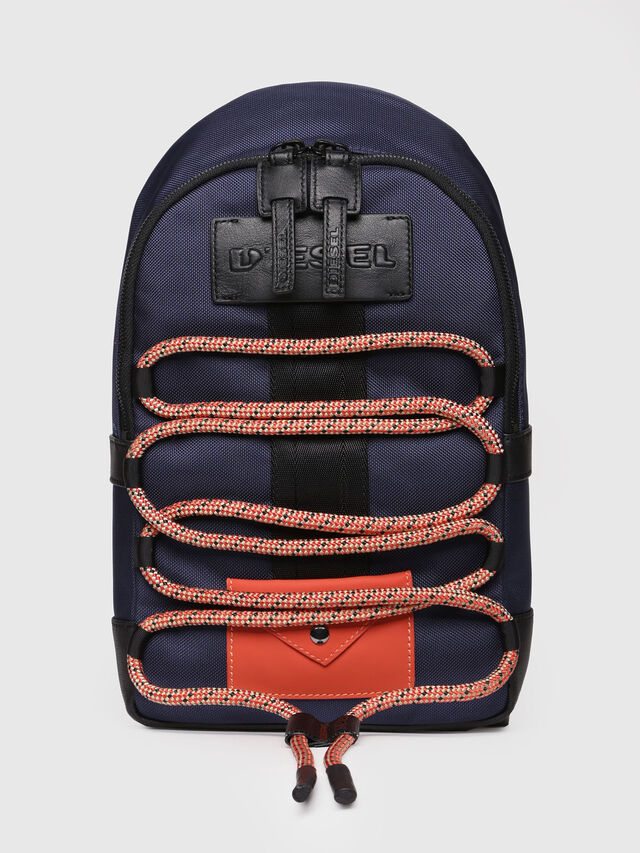 Diesel - M-CAGE MONO, Blue/Orange - Backpacks - Image 1