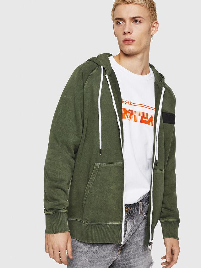 Diesel - S-GIM-HOOD-ZIP, Dark Green - Sweaters - Image 1