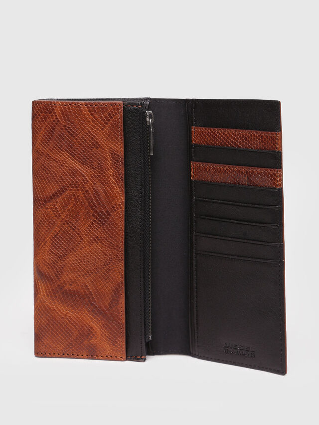 Diesel - 24 A DAY, Brown Leather - Continental Wallets - Image 3