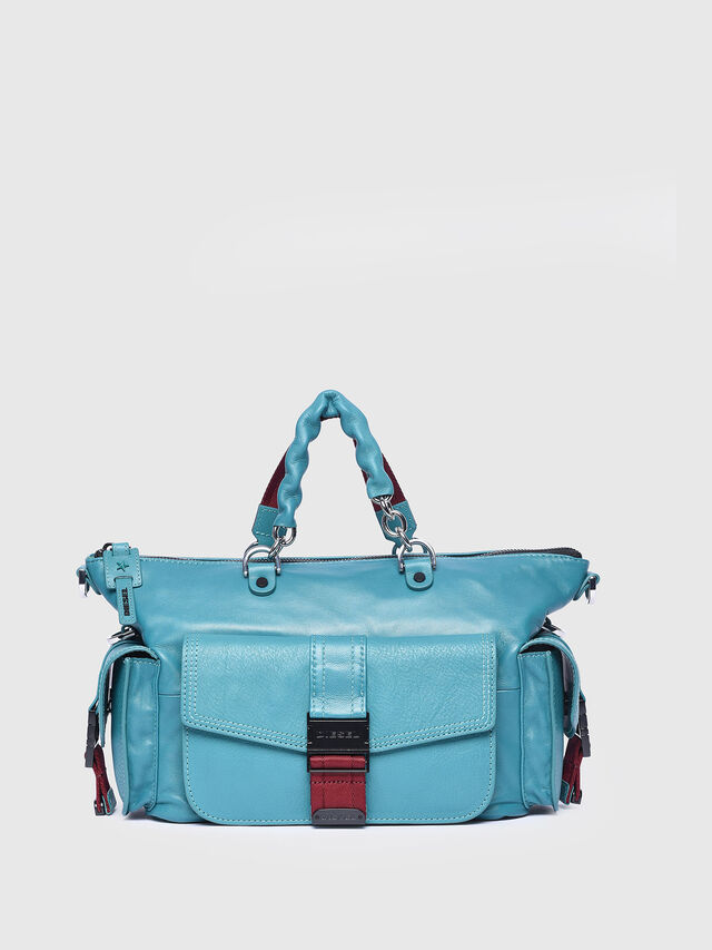 Diesel - MISS-MATCH SATCHEL M, Azure - Satchels and Handbags - Image 1