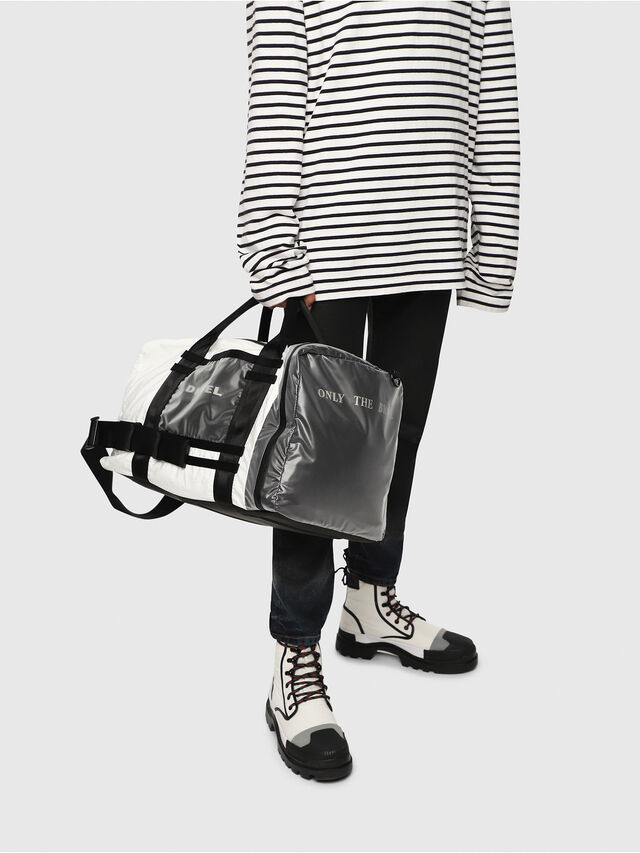 Diesel - M-CAGE DUFFLE M, White/Black - Travel Bags - Image 6