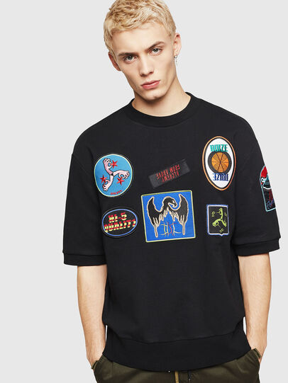 Diesel - S-MAGGY-SH-PATCH, Black - Sweaters - Image 1