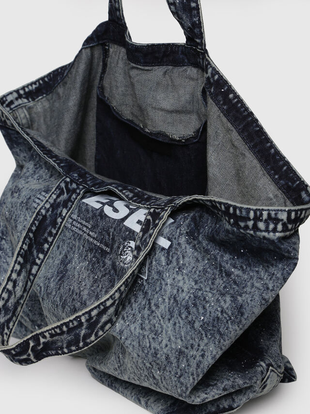 Diesel - D-THISBAG SHOPPER L, Grey Jeans - Shopping and Shoulder Bags - Image 3
