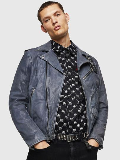 Diesel - L-KIOV, Blue - Leather jackets - Image 4