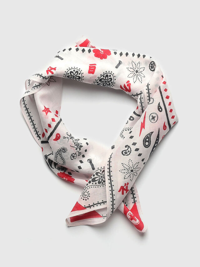 Diesel - S-BANDY, White/Red - Scarf - Image 1
