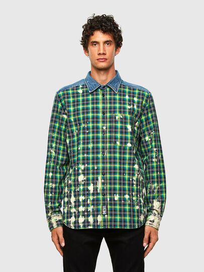 Diesel - S-MOON-CHECK, Green - Shirts - Image 1