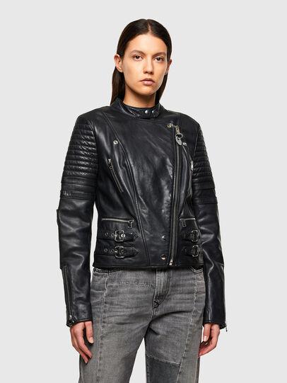 Diesel - L-IGE-NEW-A, Black - Leather jackets - Image 1