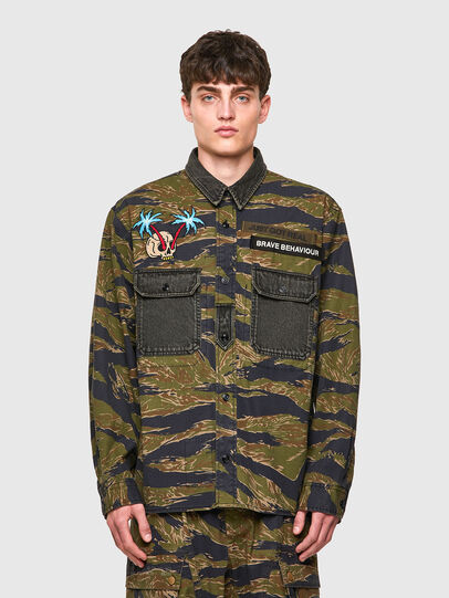 Diesel - S-BUNNELL-CMF, Military Green - Shirts - Image 1