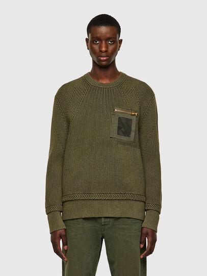 Diesel - K-MAINE, Olive Green - Knitwear - Image 1