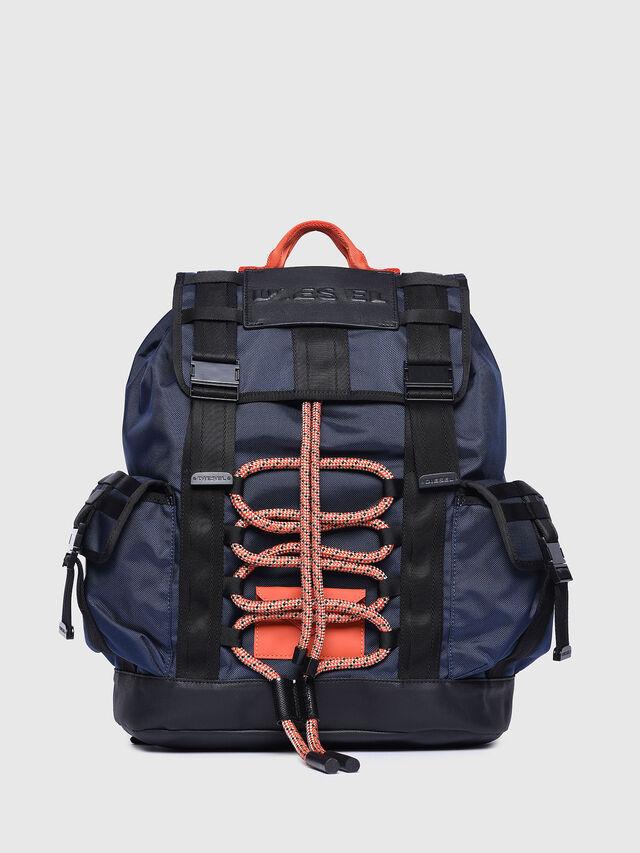 Diesel - M-CAGE BACK, Blue/Orange - Backpacks - Image 1