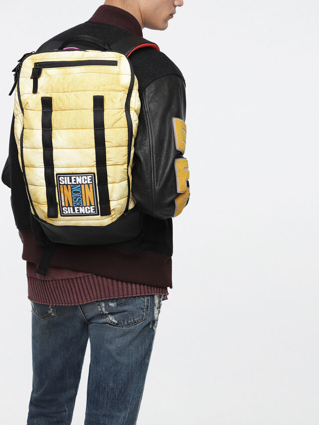 Diesel - F-HEYODA BACK, Yellow - Backpacks - Image 4