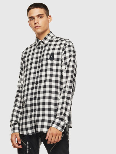 Diesel - S-VEN-CHECK, Black/White - Shirts - Image 1