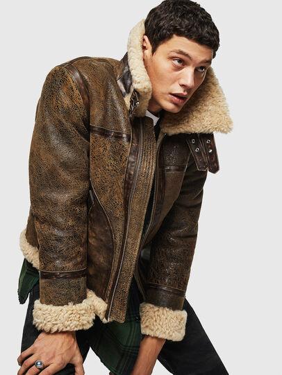 Diesel - L-BALASOVI, Brown - Leather jackets - Image 4