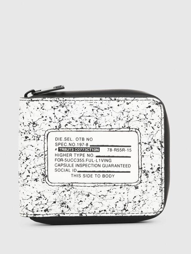 Diesel - ZIPPY HIRESH S, White/Black - Zip-Round Wallets - Image 1