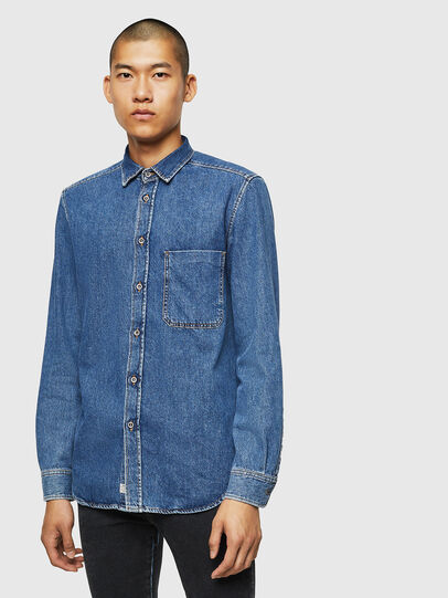 Diesel - D-BER-P, Medium blue - Denim Shirts - Image 1