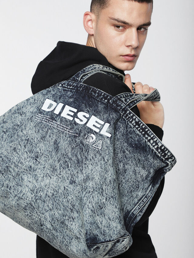 Diesel - D-THISBAG SHOPPER L, Grey Jeans - Shopping and Shoulder Bags - Image 4