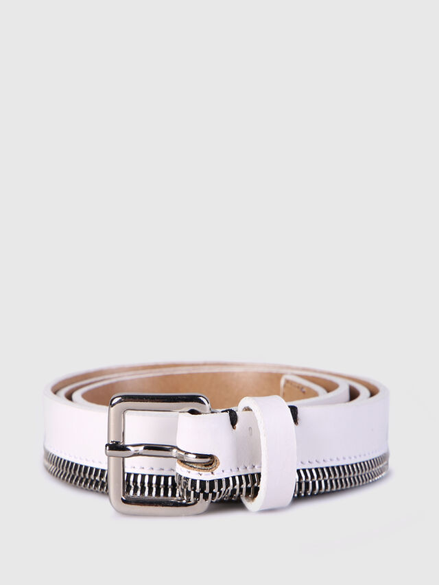 Diesel - B-ZIPPER, White - Belts - Image 1