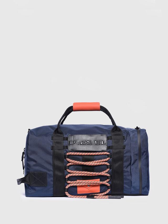 Diesel - M-CAGE DUFFLE M, Blue/Orange - Travel Bags - Image 1