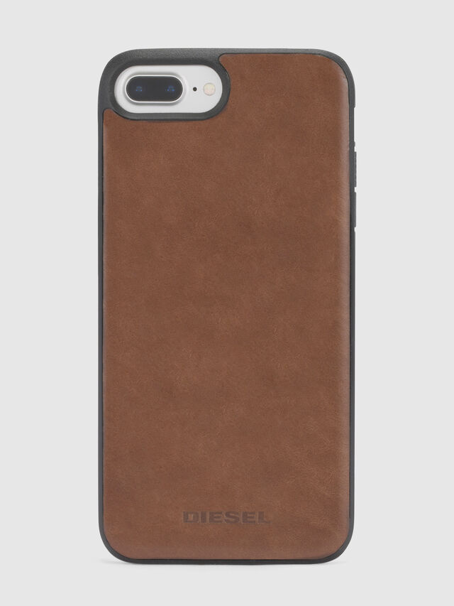 Diesel - BROWN LEATHER IPHONE 8 PLUS/7 PLUS/6s PLUS/6 PLUS CASE, Brown - Cases - Image 3