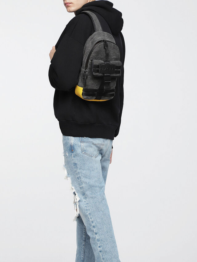 Diesel - M-CAGE MONO, Black/Yellow - Backpacks - Image 5