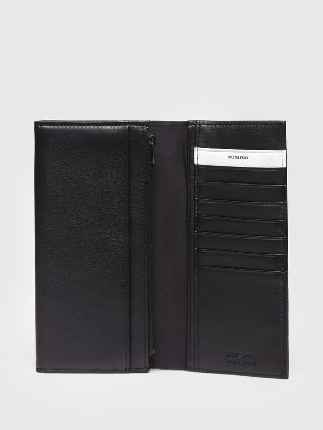 Diesel - 24 A DAY, Black Leather - Continental Wallets - Image 3