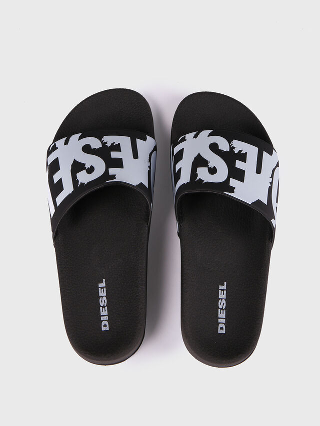 Diesel - SA-MARAL, Black/White - Slippers - Image 2