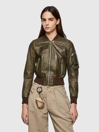 Diesel - L-ELIA, Olive Green - Leather jackets - Image 1
