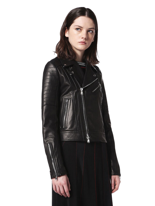Diesel - LINEW, Black - Leather jackets - Image 3